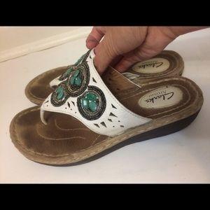 Clark's Artisan White Leather Sandals Size 7